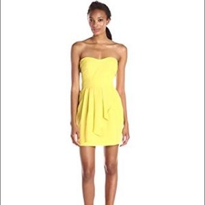 BCBG  Citron Yellow Strapless cocktail Party Dress