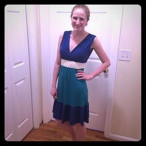 Chadwicks Dresses & Skirts - Color block dress in blue green and white