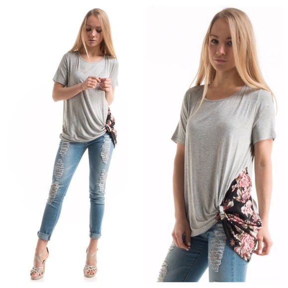 Tops - Floral print side knot top