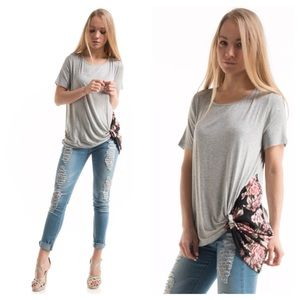 Floral print side knot top