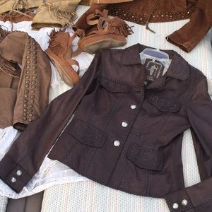 TRIBE brown Western Moto boho lamb leather jacket