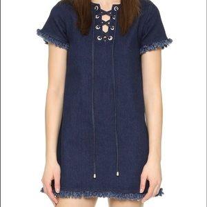 joa Dresses & Skirts - JOA Denim mini dress lace up size large