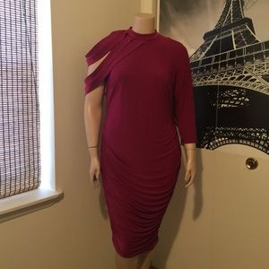 Monif C. Dresses & Skirts - Dahlia Ruched Dress in Magenta