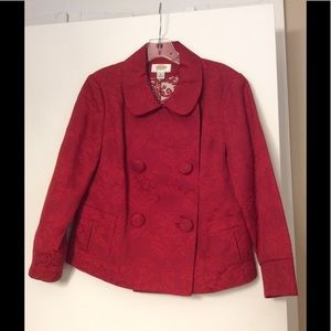 🍁Talbots Petite Cherry Red Button Jacket NWOT🍁