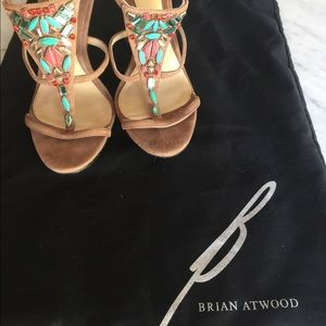 B Brian Atwood Shoes - Tan suede heels w/turquoise & red stones