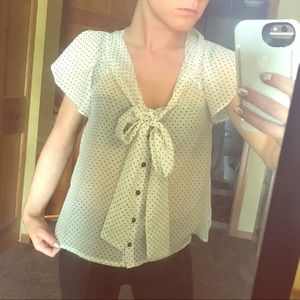 H&M white blouse with black polka dots