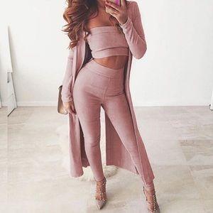 Blush Pink tube top high waist pant faux suede set