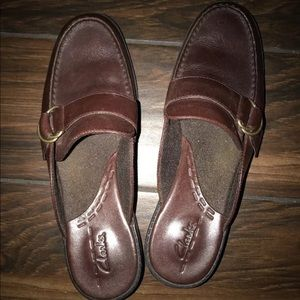 Clarks Brown Leather Mules Size 8