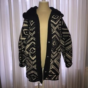 Without Walls Black And White Tribal Print Coat
