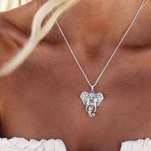 Jewelry - Silvertone Boho Gypsy Elephant Statement Necklace