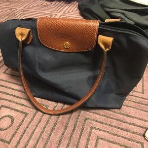 Navy blue small longchamp bag