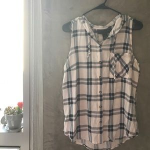 Polly & Esther Tops - Hooded Plaid Tank