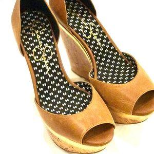 Jessica Simpson Shoes - JESSICA SIMPSON Tan Leather Cork Wedges