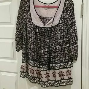 Forever 21 bohemian tie-front blouse