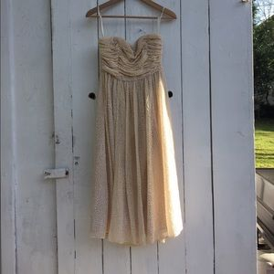 Textured Cream strapless midi dress