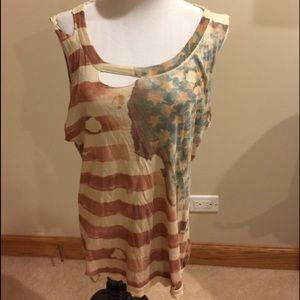Chaser M flag ripped American flag tank