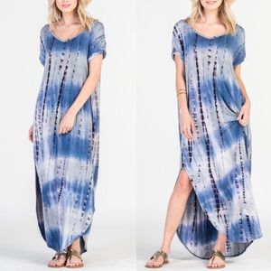 1 HR SALECHENELLE boho chic dress - BLUE