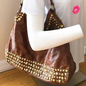 Nicole Lee Handbags - Boho Brown Nicole Lee Shoulder Bag w Gold Studs