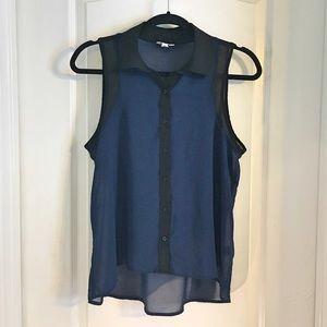 Aeropostale Sheer Blue & Black Shirt