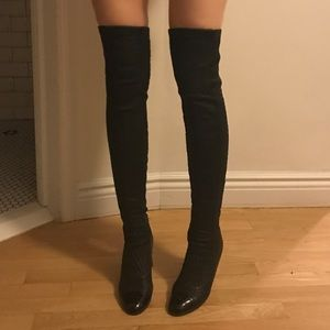 chanel knee high boots. chanel quilted over the knee boots high e