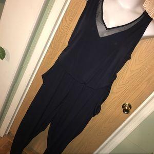 MYNT 1792 Pants - ⬇️Navy blue jumpsuit mesh trim jumpsuit