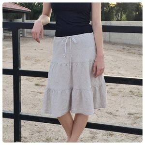 Allen Allen Dresses & Skirts - Allen Allen Linen Tiered Beige Skirt