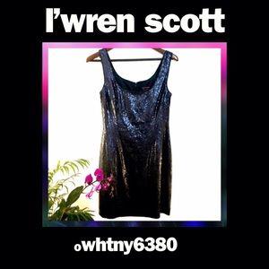 L'Wren Scott Dresses & Skirts - 🌵Navy Metallic Sequin Scoop Neck strapless Sheath