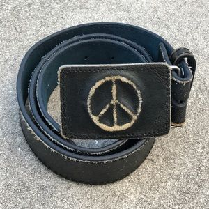 Vintage Accessories - VTG  70'S MADE In ITALY 🇮🇹 LEATHER  ☮️PEACE BELT