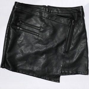 Forever 21 Dresses & Skirts - Black faux leather asymmetrical mini skirt