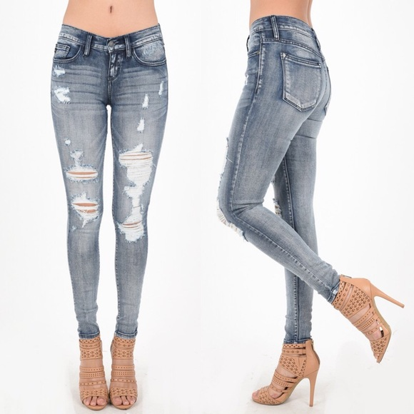 Jeans - ESTHER distressed skinny jeans -FADED WASH