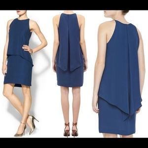 """Theory """"Lyall"""" blue silk with cape / flyaway back"""