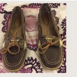 Sperry Top-Sider Shoes - Sperrys Topsiders  brown with purple plaid