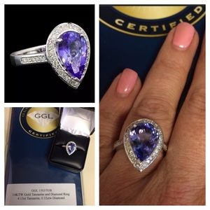 Jewelry - BNIB 14Kt White Gold, Tanzanite and Diamond Ring