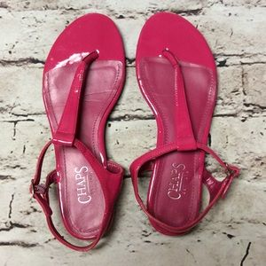 Chaps Shoes - SZ 8 CHAPS BRIGHT PINK THONG STYLE SANDALS