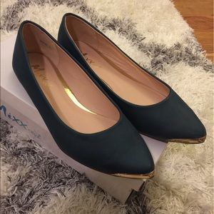Dark green flats with gold accent