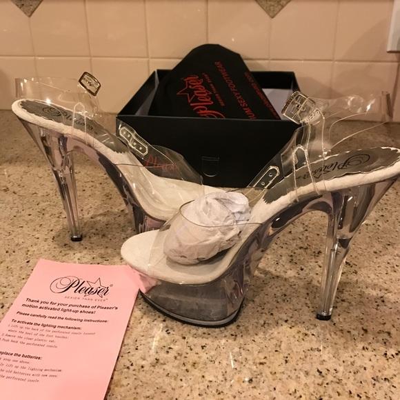 6edacd7df71 New pleaser heels clear pink 8 kiss light up dance NWT