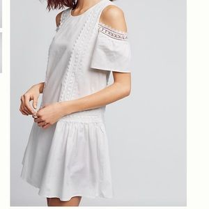 Open Shoulder White Poplin Dress