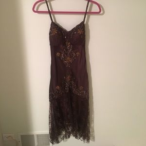 Sue Wong Dresses & Skirts - Sue Wong Brown Beaded and Lace Dress - Size 6