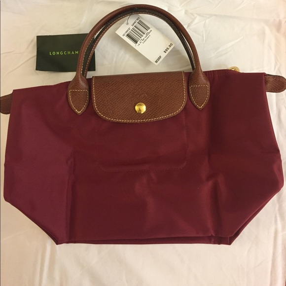 11586a038a13 Longchamp Le Pliage Small Tote NWT Garnet Red