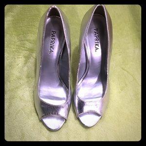 Paprika Shoes - 💥FLASH SALE! Silver open toe heels