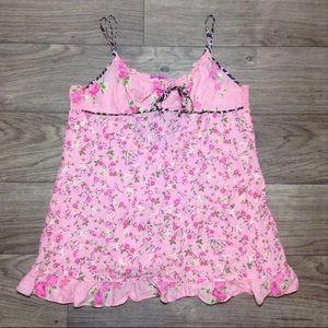 Betsey Johnson Pink Floral Chemise Babydoll Sz Med