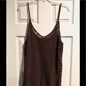 Brown crochet tank top!