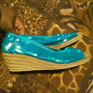 Shoes - Aqua Turquoise Sequins Peep Toe Mermaid Wedges