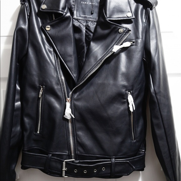 f7035436 ZARA MAN FAUX LEATHER BIKER JACKET: Small 0706/346.  M_58ecb803c6c795177405e234