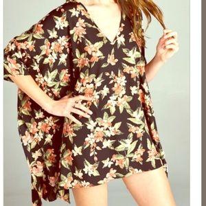 Boho Loco Fashion Boutique Tops - Floral Cape Tunic