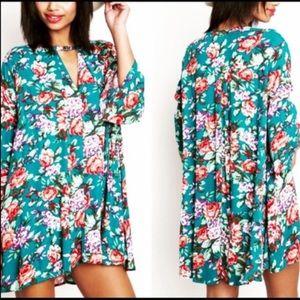 Boho Loco Fashion Boutique Tops - Floral Teal Trapeze Tunic