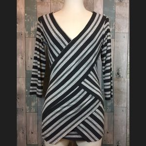 Anthropologie Tops - Sparked Stripes V-neck Blouse by Bailey 44