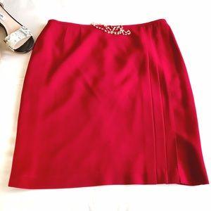 Dresses & Skirts - Red mini skirt with slit