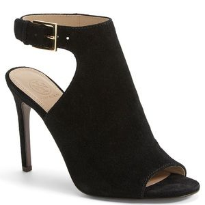 Tory Burch Shoes - Tory Burch Brittania Black Suede Peep Toe Bootie 8