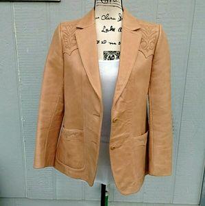 Jackets & Blazers - 🎉HP🎉 Beautiful Tan Leather Jacket